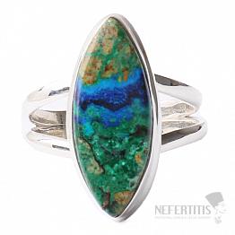 Malachit v azuritu prsten stříbro Ag 925 R133