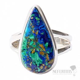 Malachit v azuritu prsten stříbro Ag 925 R179