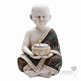 Buddhistický mnich soška chlapce se stojánkem na čajovou svíčku