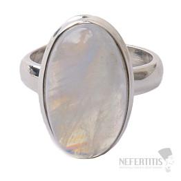 Měsíční kámen duhový prsten stříbro Ag 925 R1739