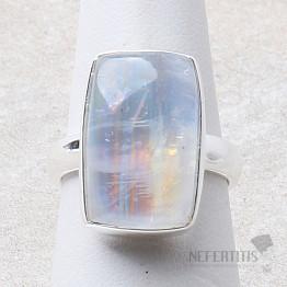 Měsíční kámen duhový prsten stříbro Ag 925 R2379