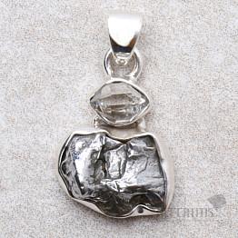 Meteorit Campo del Cielo designový přívěsek stříbro Ag 925 P106