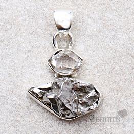 Meteorit Campo del Cielo designový přívěsek stříbro Ag 925 P123
