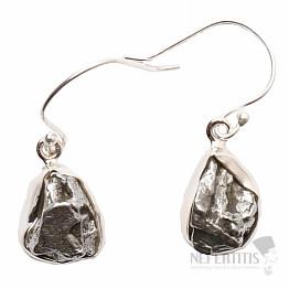 Meteorit Campo del Cielo náušnice stříbro Ag 925 E356