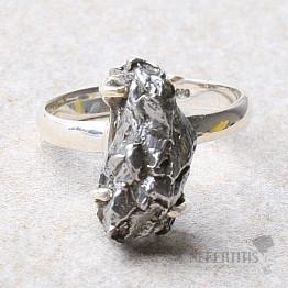 Meteorit Campo del Cielo prsten stříbro Ag 925 R995