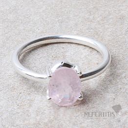 Morganit růžový smaragd broušený prsten stříbro Ag 925 R23