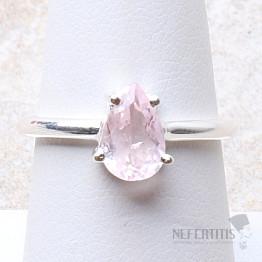 Morganit růžový smaragd broušený prsten stříbro Ag 925 R26