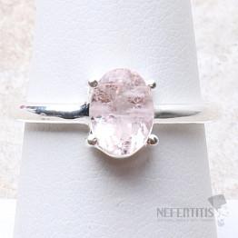 Morganit růžový smaragd broušený prsten stříbro Ag 925 R38