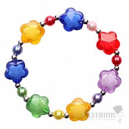 Barevný dětský náramek s perličkami a kytičkami
