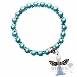 Dětský náramek z tmavě tyrkysových skleněných perliček s andělíčkem