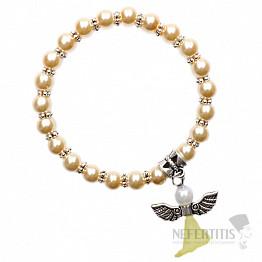 Dětský náramek ze zlatých skleněných perliček s andělíčkem