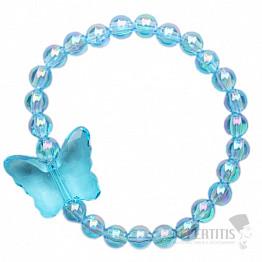 Modrý duhový dětský náramek s motýlem