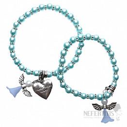 Matka a dcera náramky z azurových perliček s andělíčky a srdcem