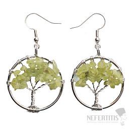 Olivín náušnice Strom života