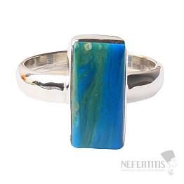 Opál modrý peruánský prsten stříbro Ag 925 R55