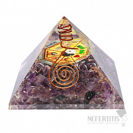 Orgonit pyramida s ametystem a křišťálem velká s Bagua