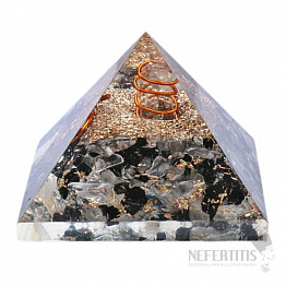Orgonit pyramida křišťál a turmalín s krystalem křišťálu