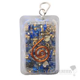 Orgonit přívěsek obdélník s lapisem lazuli