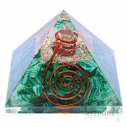 Orgonit pyramida s malachitem a krystalem křišťálu