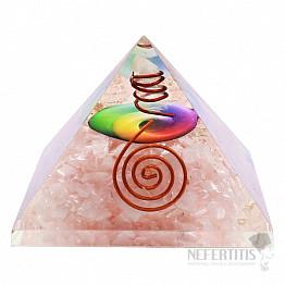 Orgonit pyramida s růženínem velká s křišťálem a symbolem čaker