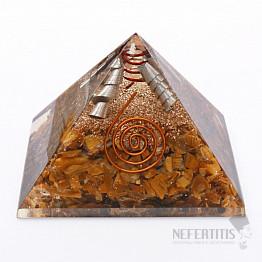 Orgonit pyramida velká s tygřím okem a krystalem křišťálu
