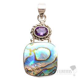 Paua abalon perleť přívěsek stříbro Ag 925 JW14273