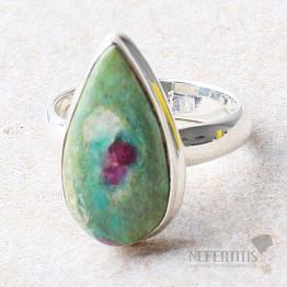 Rubín ve fuchsitu prsten stříbro Ag 925 R615