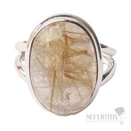 Sagenit křišťál s rutilem prsten stříbro Ag 925 P251