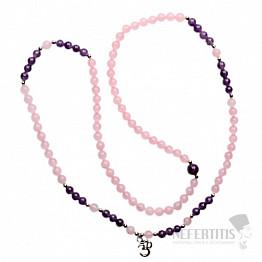 Růženín a ametyst náhrdelník z korálků