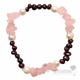 Růženín a granát s perlami náramek sekaný