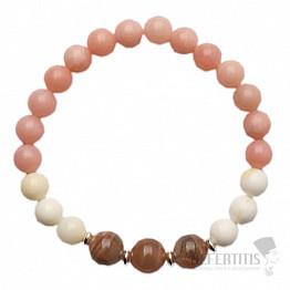 Opál růžový, perleť a měsíční kámen náramek RB Design 41