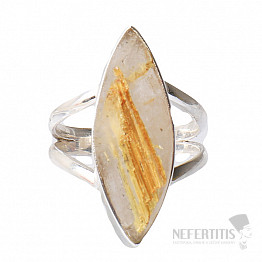 Sagenit křišťál s rutilem prsten stříbro Ag 925 R37