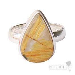 Sagenit křišťál s rutilem prsten stříbro Ag 925 R73