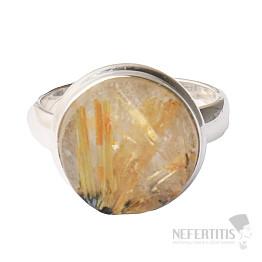 Sagenit křišťál s rutilem prsten stříbro Ag 925 R81