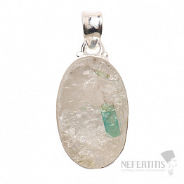 Smaragd v křišťálu přívěsek stříbro Ag 925 P36