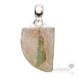 Smaragd v křišťálu přívěsek stříbro Ag 925 P40