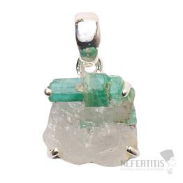 Smaragd v křišťálu přívěsek stříbro Ag 925 P72
