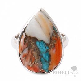 Tyrkys přírodní s lasturou prsten stříbro Ag 925 R10