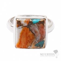 Tyrkys přírodní s lasturou prsten stříbro Ag 925 R28