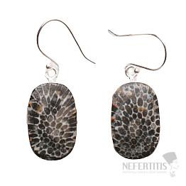 Korál fosilní Stingray náušnice stříbro Ag 925 E52