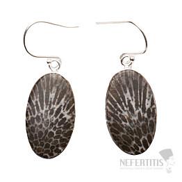 Korál fosilní Stingray náušnice stříbro Ag 925 E61