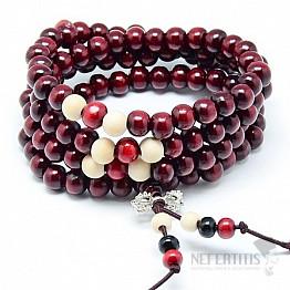Japa Mala náhrdelník červené dřevo s dorže