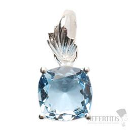 Topaz modrý broušený přívěsek stříbro Ag 925 P806