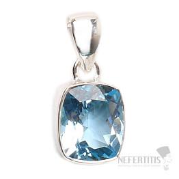 Topaz modrý broušený přívěsek stříbro Ag 925 P898