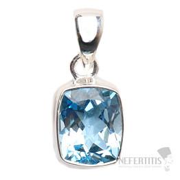 Topaz modrý broušený přívěsek stříbro Ag 925 P899