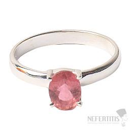 Turmalín růžový broušený prsten stříbro Ag 925 R41