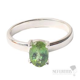 Turmalín zelený broušený prsten stříbro Ag 925 R42