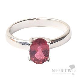 Turmalín růžový broušený prsten stříbro Ag 925 R47