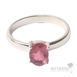 Turmalín růžový broušený prsten stříbro Ag 925 R54