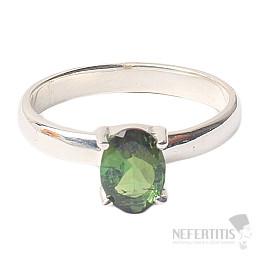 Turmalín zelený broušený prsten stříbro Ag 925 R61